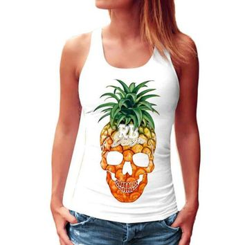 Summer Style Pineapple Print Tank Top Casual Woman Sleeveless Print Crop Tank Top Female Ladies Tops 2017 #03