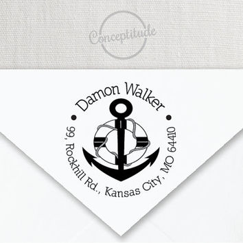 Personalized Self Inking or Mounted Handle Return Address Stamp with Anchor, Nautical Theme 032