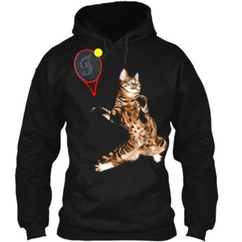 FUNNY TENNIS GAME  FUNNY CAT RACKET FOR MEN WOMEN Pullover Hoodie 8 oz