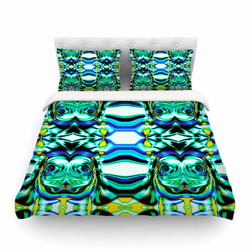 "Dawid Roc ""Inspired By Psychedelic Art 5"" Blue Abstract Featherweight Duvet Cover"