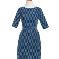 Mid-Century Mod Dress - Blue