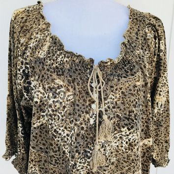 Bandolino Animal Print Peasant Blouse, Size Large