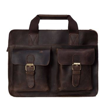 BLUESEBE MEN HANDMADE VINTAGE GENUINE LEATHER BRIEFCASE/MESSENGER BAG/LAPTOP BAG 6132