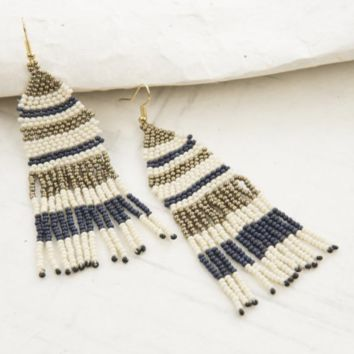 Ink + Alloy | SEED BEAD EARRING | NAVY, IVORY AND GOLD