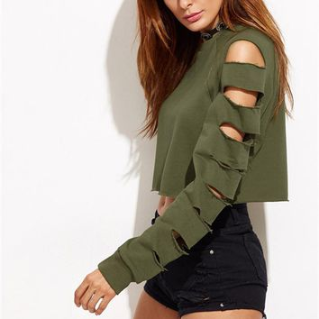 Hollow Sleeve Crop Sweater