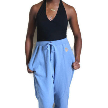 Vintage 90s High Waisted Ralph Lauren Tapered Sweatpants Baby Blue Size Medium w Pockets