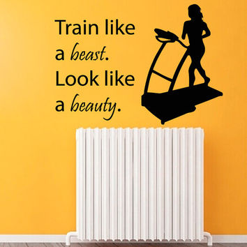 Fitness Wall Decals Sport Woman Wall Words Girl Quotes Train Like A Beast Look Like A Beauty Gym Decor Vinyl Sticker Interior Design kk767