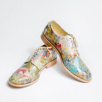flowered patter pattent leather impressionism oxford brogue shoes - FREE WORLDWIDE SHIPPING