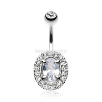 Grand Sparkle Prong Gem Belly Button Ring (Clear)