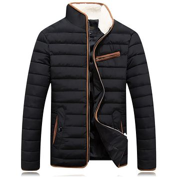 Winter Parkas Men 2017 Fashion Solid Stand Collar Zipper Up Warm Coat Slim Fit Casual Quilted Jacket Men Quilted Parkas