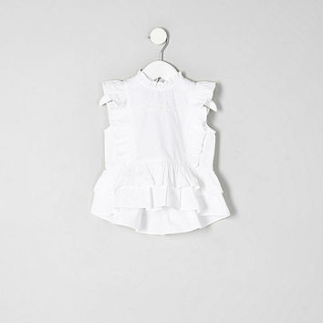 Mini girls white frill peplum hem top