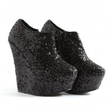 Missguided - Battilda Sequin Platform Ankle Wedges