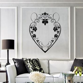 Wall Decal Beautiful Heart Patterns Grape Leaves Vinyl Stickers Unique Gift (ig2810)