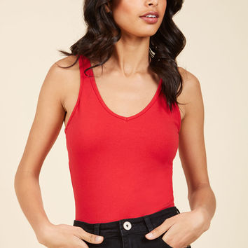 Smooth Simplicity Bodysuit in Cherry | Mod Retro Vintage Short Sleeve Shirts | ModCloth.com