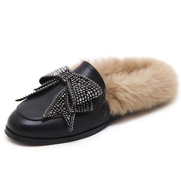 Black Leather Look Bow Embellished Faux Fur Flat Shoes