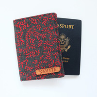 Red floral Passport Case, Case for Passport, Red Leafs Passport Wallet, Passport Holder, Passport Cover Gift - SKPC42