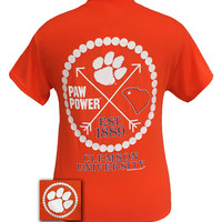 New South Carolina Clemson Tigers Arrow Pearls Classy Girlie Bright T Shirt