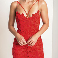 Red Women's Lace Crochet Lined Spaghetti Strap Bodycon Dress