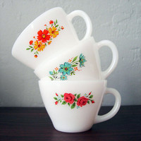 Flowery Fire King Anchor Hocking Tea Cups, Set of 3