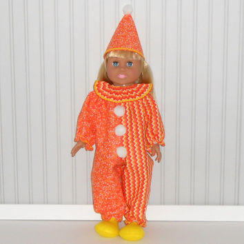 18 inch dolls Orange and Yellow Clown Halloween Costume with Hat and Slippers American Doll Clothes