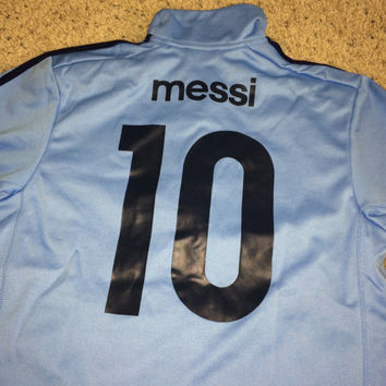 Sale!! Adidas ARGENTINA track Jacket #10 MESSI Soccer Jersey Football tee shirt