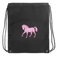 Pink Horse Drawstring Bag Horses Backpack Cinch Pack