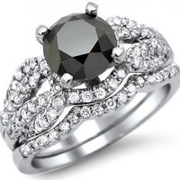 2.40ct Black Round Diamond Engagement Ring Bridal Set 14k White Gold