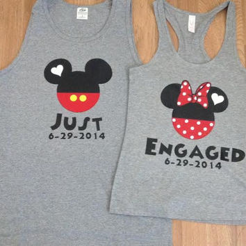 Disney just engaged Mickey and Minnie Couples Shirts/Tank Tops