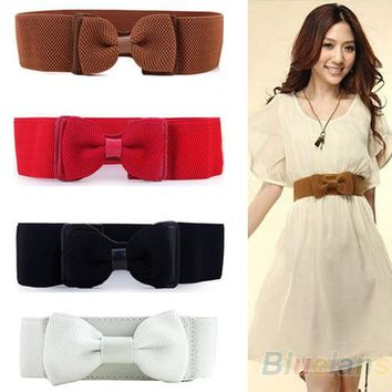 Fashion Lady Wide Elastic Stretch Bowknot Bow Tie Belt Waistband 4 Colors