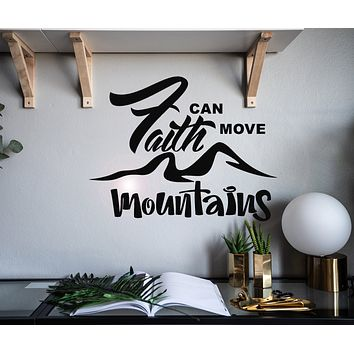 Vinyl Wall Decal Letter Inspiring Quote Faith Can Move Mountains Stickers Mural 22.5 in x 17.5 in gz068
