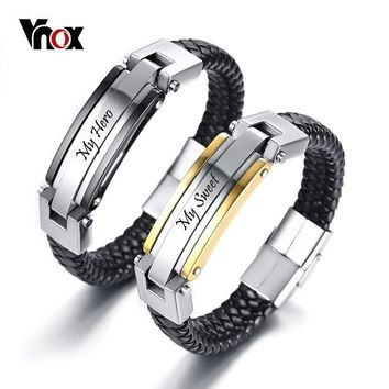 Leather customized bangle bracelets with stainless steel bar