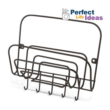 Perfect Life Ideas Key Holder Mail Rack Wall Mount Letter Organizer with Hook...