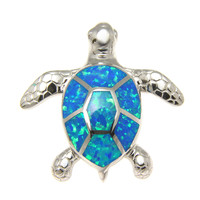 925 Sterling Silver Rhodium Hawaiian Honu Sea Turtle Blue Opal Slider Pendant
