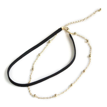 Black Leather Cord Layering Choker Necklace