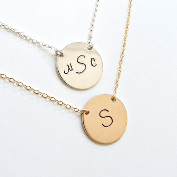 Monogram Disc Necklace Gold or Silver Personalized Necklace Bridesmaid Jewelry New Mom Gift New Bride Gift Initial Necklace