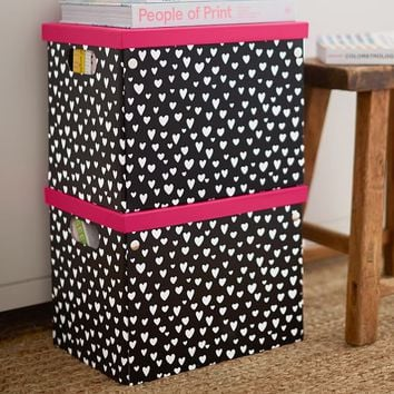 MayBaby Painted Hearts Paper Storage Bins