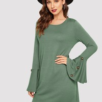Buttoned Flare Sleeve Dress