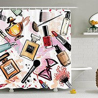 Girly Decor by Ambesonne, Cosmetic and Make Up Theme Pattern with Perfume and Lipstick Nail Polish Brush Modern City Lady, Polyester Fabric Bathroom Shower Curtain Set, 75 Inches Long, Multi