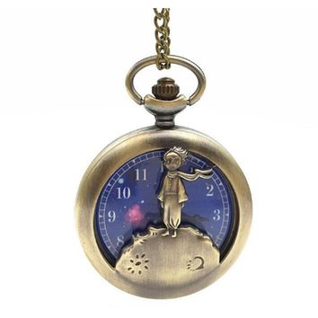 Fashion Blue The little Prince Bronze Quartz Pocket Watch Analog Pendant Necklace Mens Women Kids Planet Vintage Steampunk Gifts