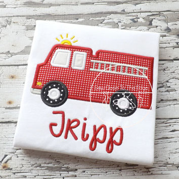 Custom Boys Firefighter Firetruck T-Shirt - Personalized - Applique Shirt - Toddler - Youth - Fire Truck Embroidered Shirt