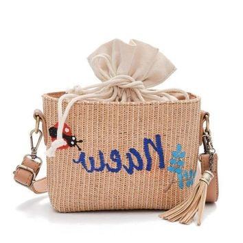 Hot Summer Straw Beach Handbags Purse Colorful Tassel Letter Women Shopping Tote Bohemian Style Weave Travel Shoulder Bag