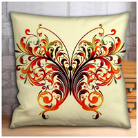 Abstract Floral Butterfly Pillow Case, Cover, Custom Cushion, Gift Woman Bedding