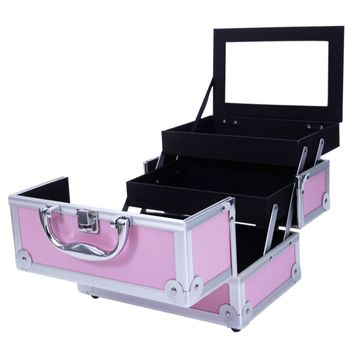 Makeup Case Cosmetic Storage Organizer With Mirror Extendable Locking Aluminum