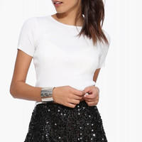 Black Sequined Cullotes Shorts with Side Zipper