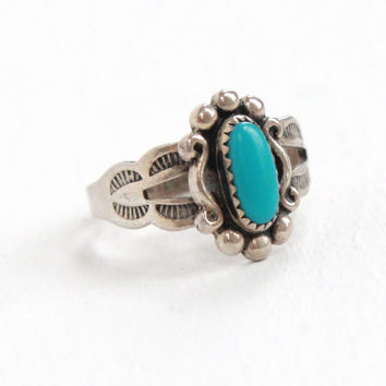 Vintage Sterling Silver Turquoise Blue Stone Ring - Size 3 3/4 Retro Southwestern Native American Style Jewelry Hallmarked Bell Trading Co.