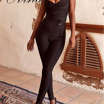 New Arrival Black Celebrity Strap Sleeveless Slip Bodycon Bandage Jumpsuit Homecoming Party Rompers