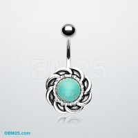 Tribal Turquoise Sun Belly Button Ring