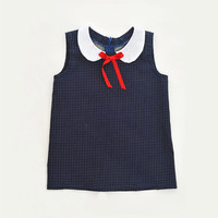 Girls Back To School Polka Dot Navy Blue Dress Baby summer Dress with Peter Pan Collar Retro Style, size -  3T
