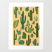 The Snake, The Cactus and The Desert Art Print by David Penela