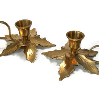 Brass Taper Candlestick Holders Candle Holders - Handcrafted Made in India Brass Decor Ivy Leaf Centerpiece Candleholders Pair Set of 2 Two